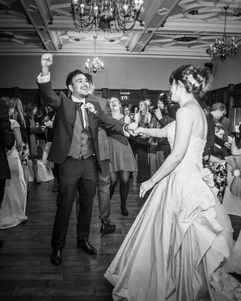 Groom dancing, Maynard Arms wedding, Sheffield photographers