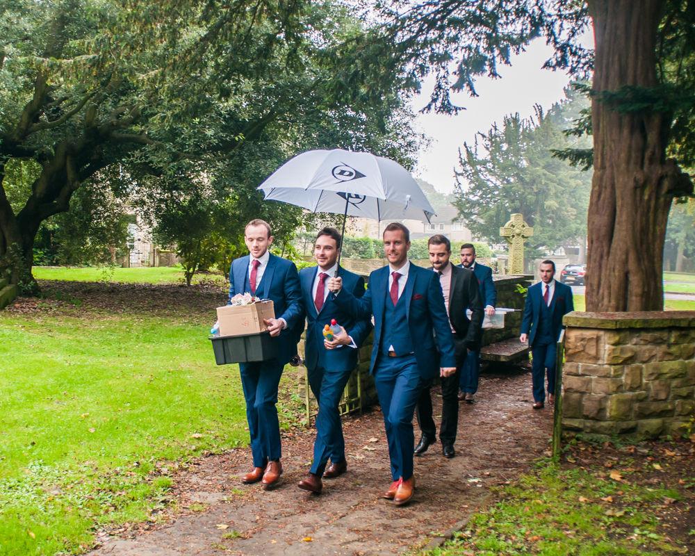 Groomsmen walking to church, Maynard wedding, Sheffield photographers