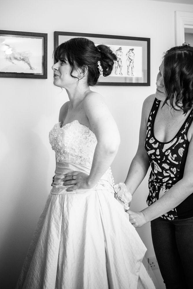 Bride getting dress on, Maynard wedding, Sheffield photographers