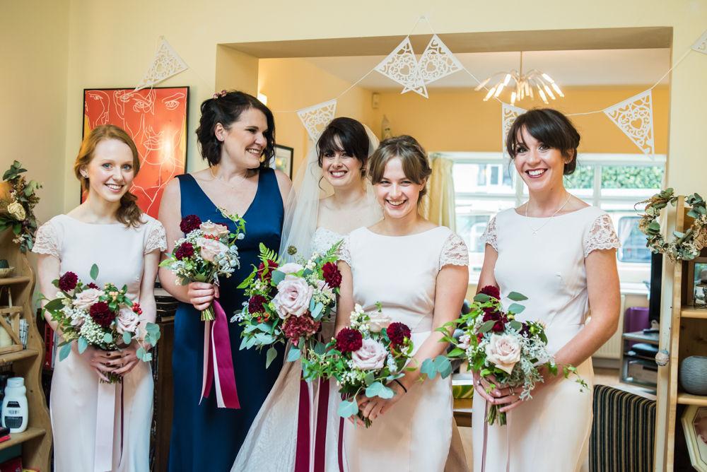 Bridal party laughing, Maynard wedding, Sheffield photographers