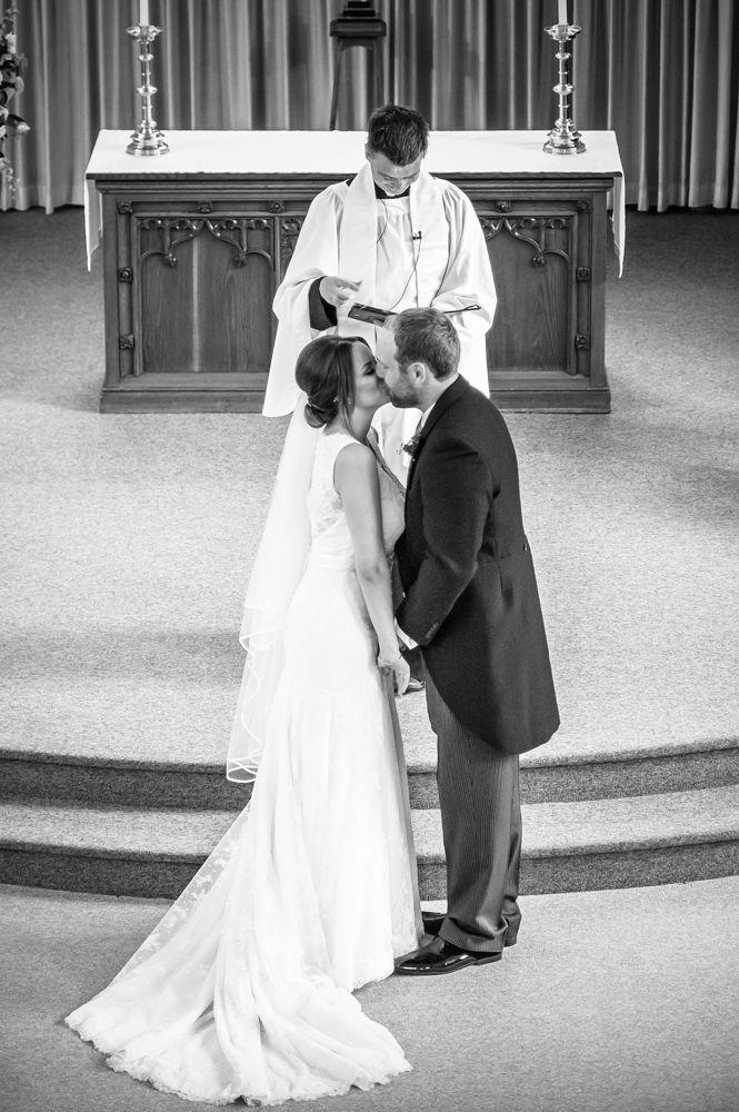 Christ Church Stannington, first kiss, Sheffield wedding photographers,