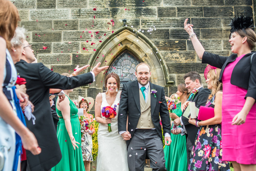 Confetti, Sheffield wedding photographers,, Christ Church Stannington