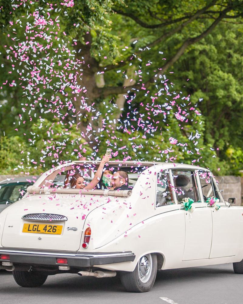 Sheffield wedding photographers, Bridal car confetti cannon