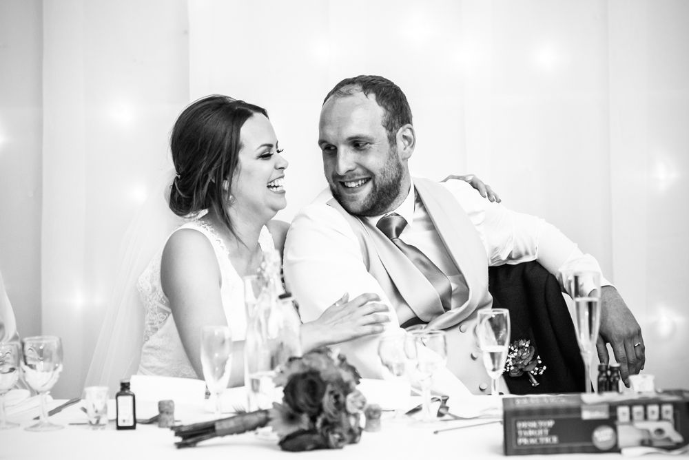 Sheffield wedding photographers, Tankersley Manor , speeches bride reaction