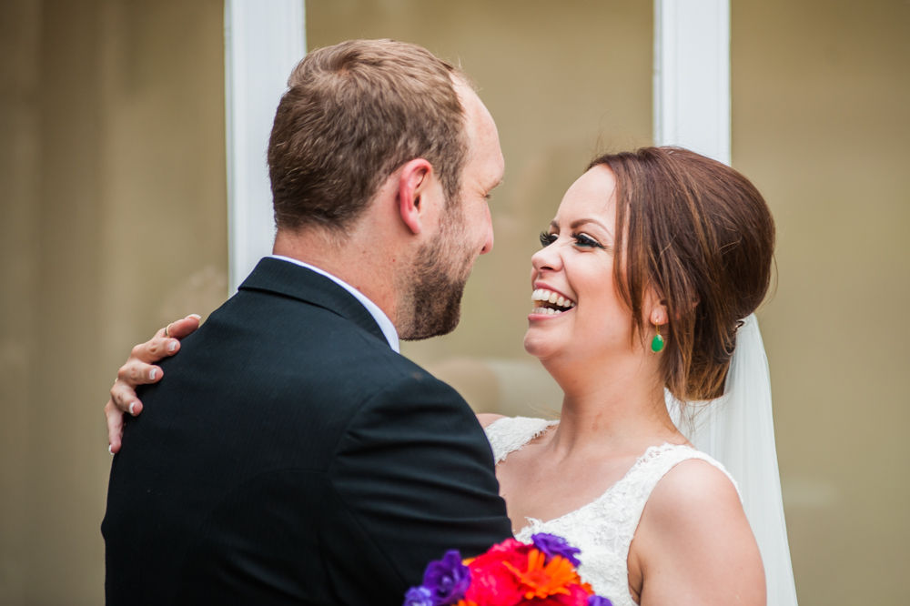 Sheffield wedding photographers, Tankersley Manor , bride laughing