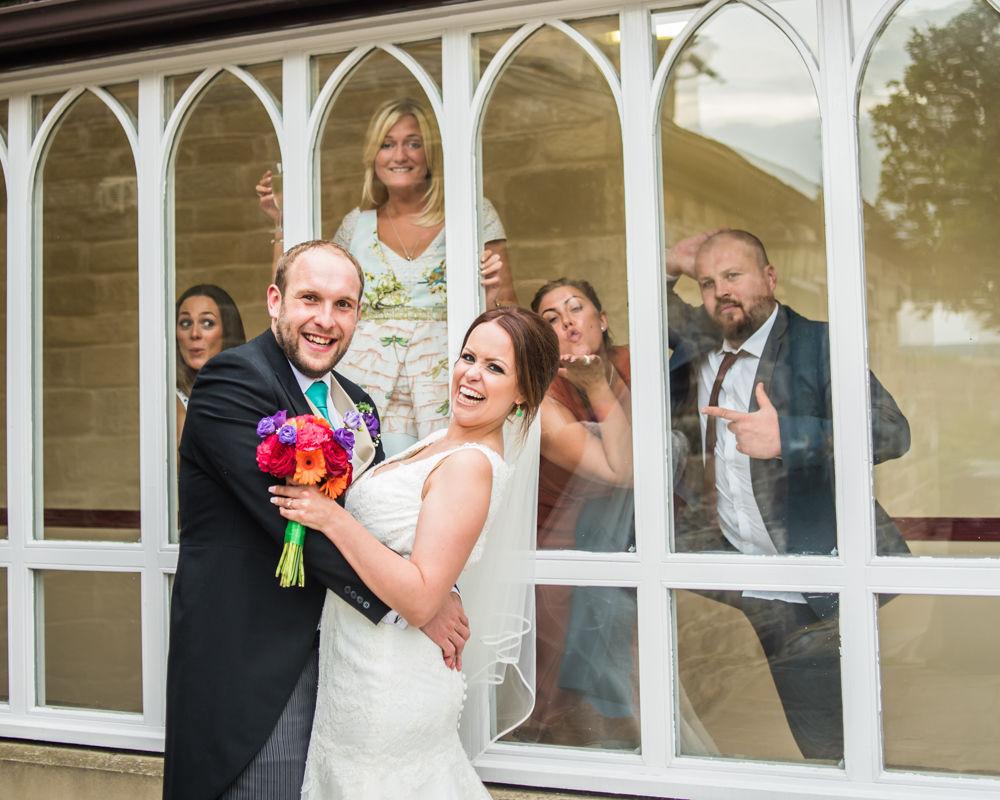 Sheffield wedding photographers, Tankersley Manor , guest photobomb