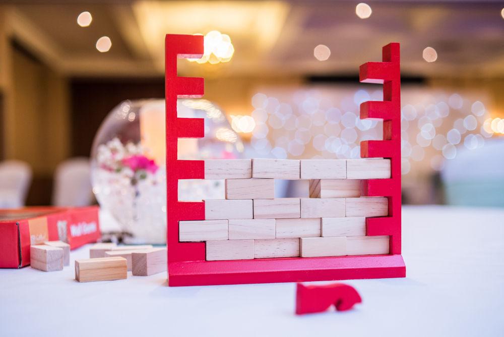 Jenga games, Sheffield wedding photographers, Tankersley Manor