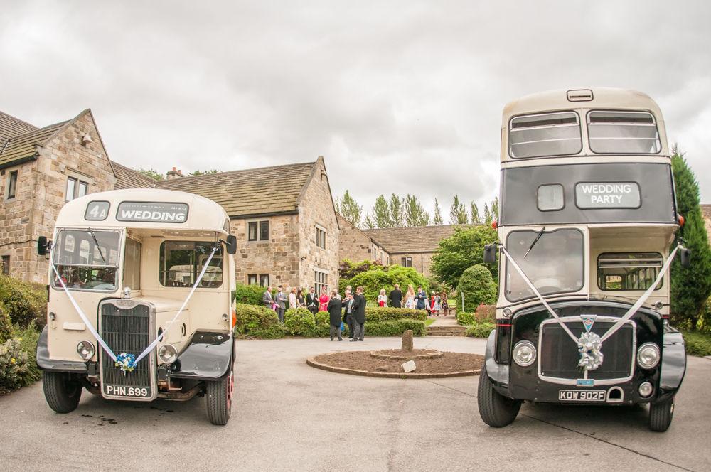 Sheffield wedding photographers, wedding buses outside Tankersley Manor