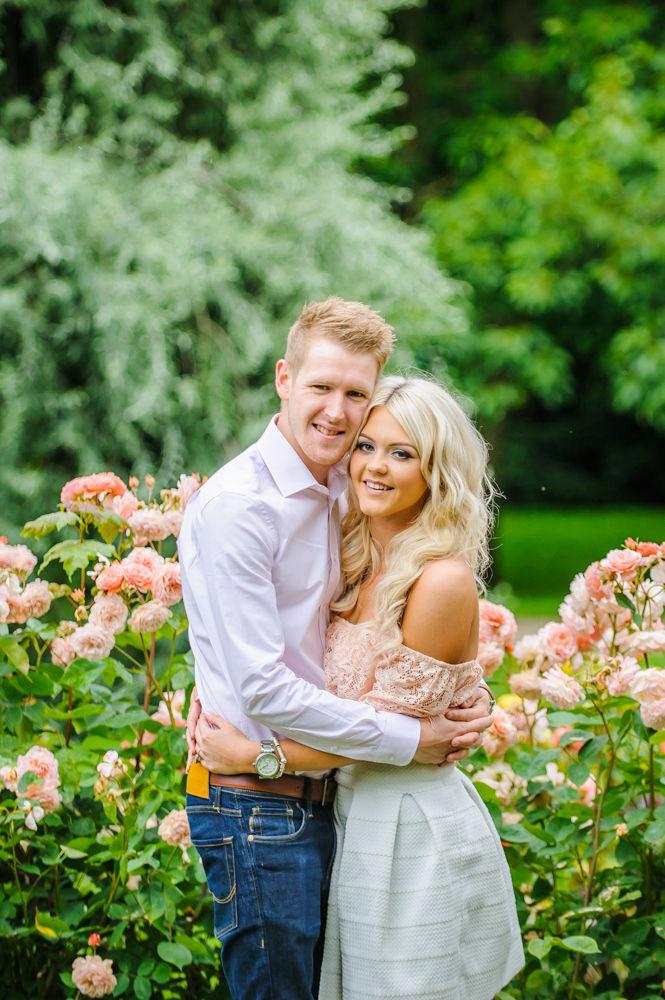 In pink flowers, pre-wedding photos, Sheffield Botanical Gardens