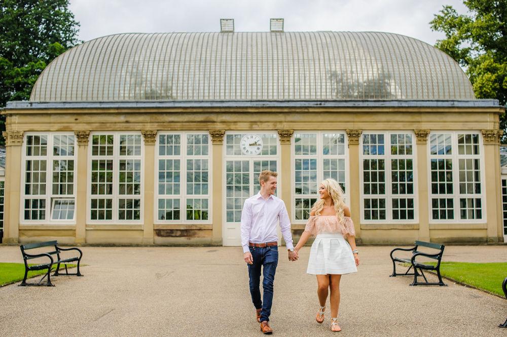 Outside Botanical Gardens greenhouse, pre-wedding photos, Sheffield Botanical Gardens