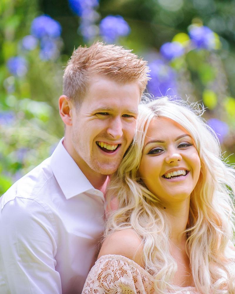 Laughing, pre-wedding photos, Sheffield Botanical Gardens