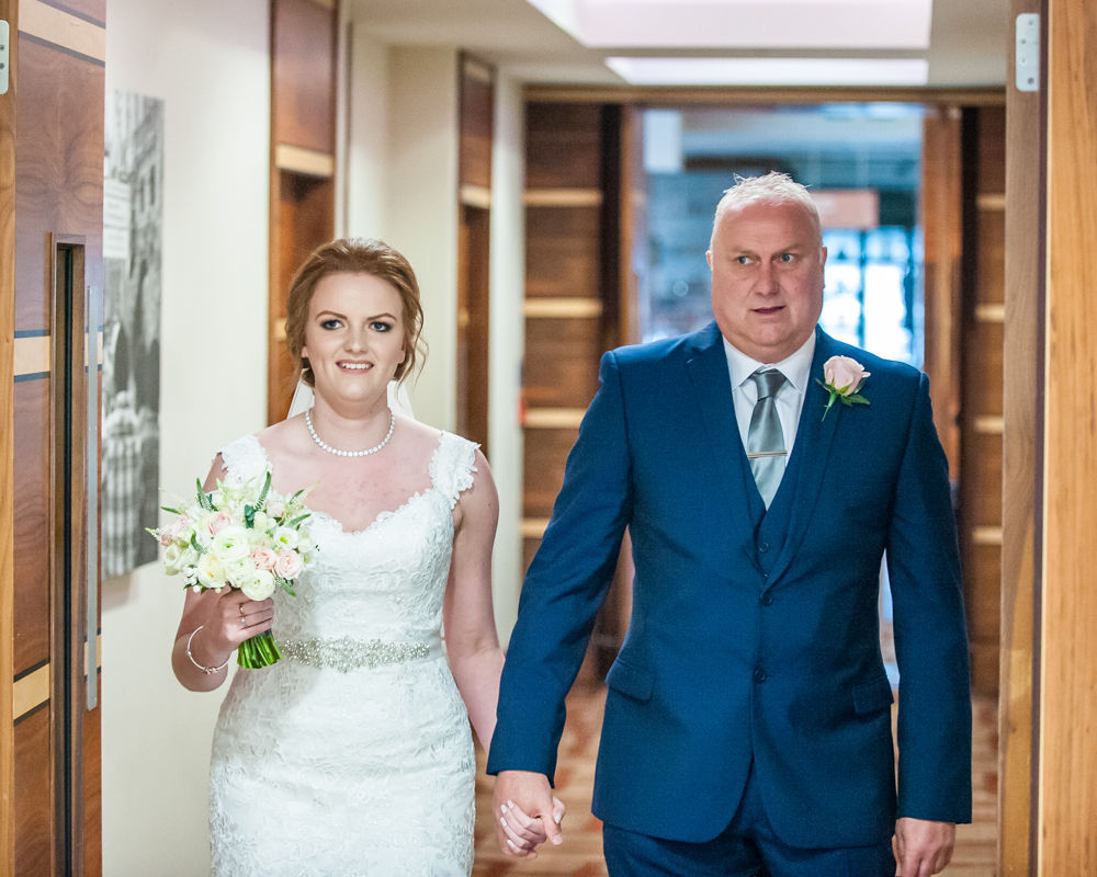 Bride and Dad walking down aisle, Chesterfield wedding photographer, Casa Hotel