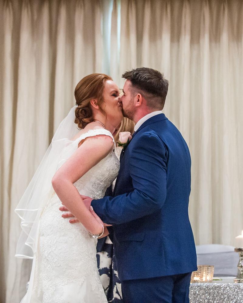 First kiss, Chesterfield wedding photographer, Casa Hotel