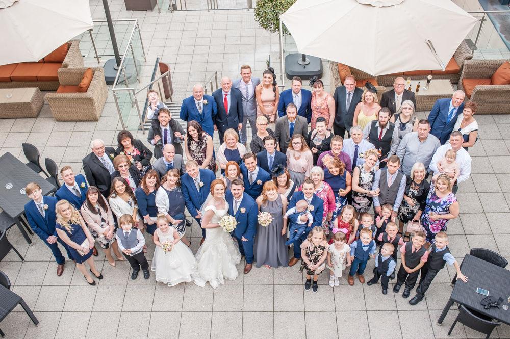 Full wedding party photo, Chesterfield wedding photographer, Casa Hotel