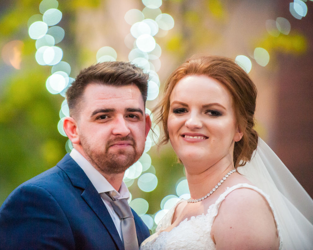 Bride and groom with bokeh, Chesterfield wedding photographer, Casa Hotel
