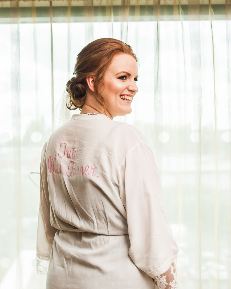 Kate in her bridal dressing gown, Chesterfield wedding photographer, Casa Hotel