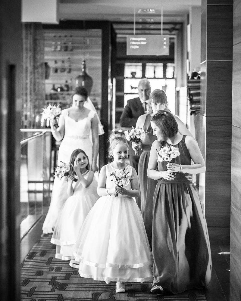 Bridesmaids party entering ceremony, Chesterfield wedding photographer, Casa Hotel