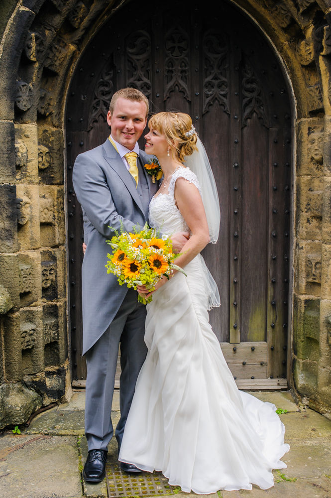 Bride and groom outside church, Sheffield wedding photographers, Smallshaw Farm Cottages