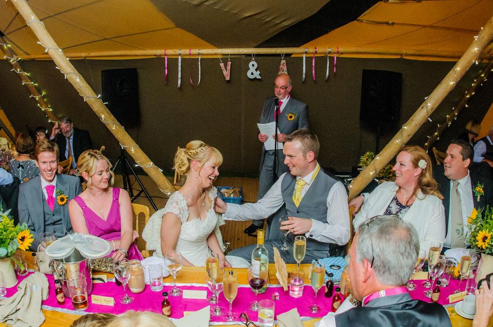Speeches inside the teepee, Sheffield wedding photographers, Smallshaw Farm Cottages