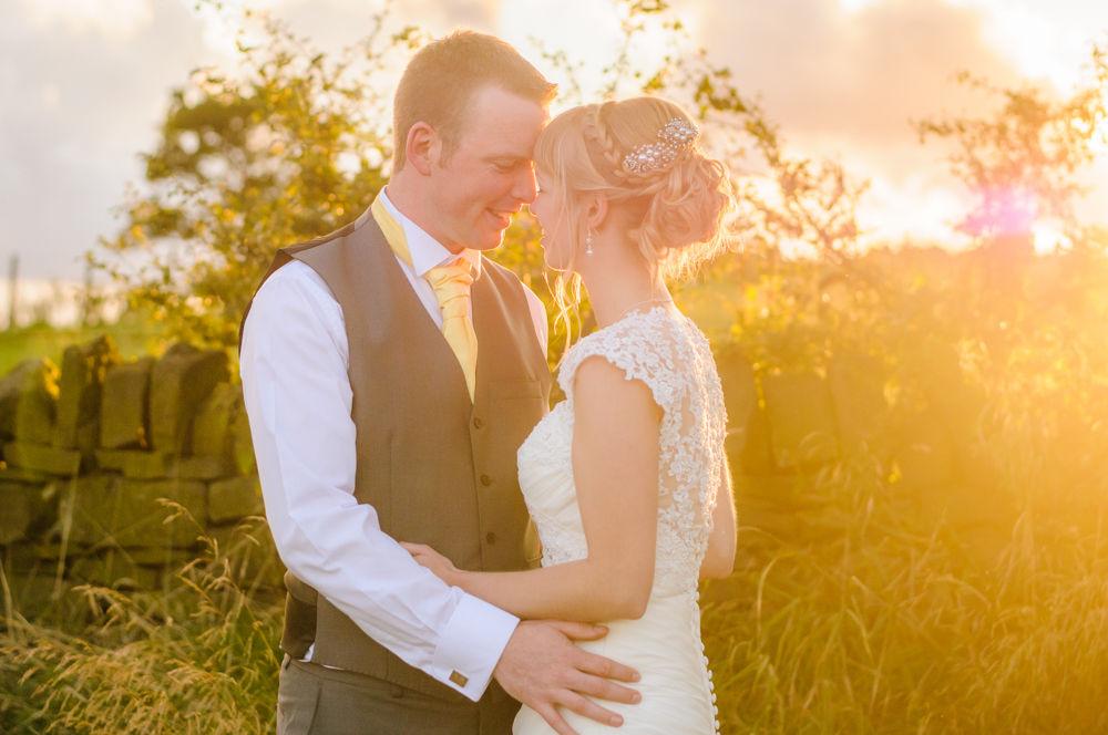 Bride and groom sunset poses, Sheffield wedding photographers, Smallshaw Farm Cottages