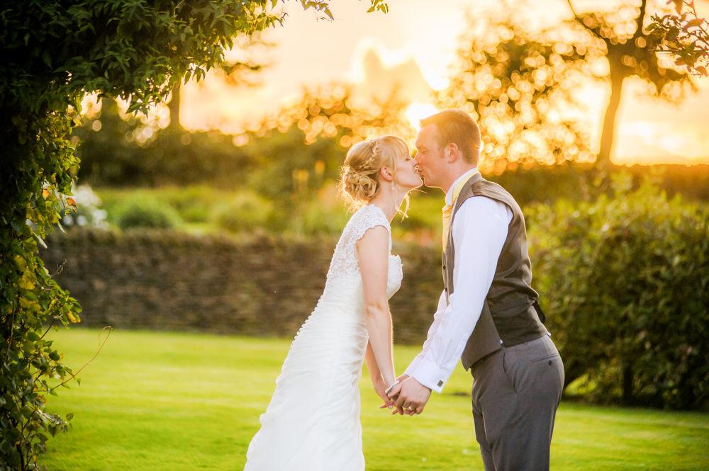 Sunset kisses, Sheffield wedding photographers, Smallshaw Farm Cottages