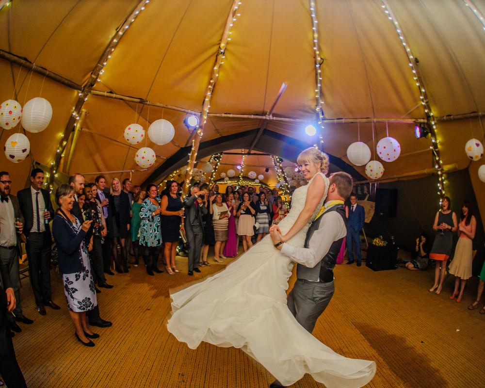Teepee first dance lift, Sheffield wedding photographers, Smallshaw Farm Cottages