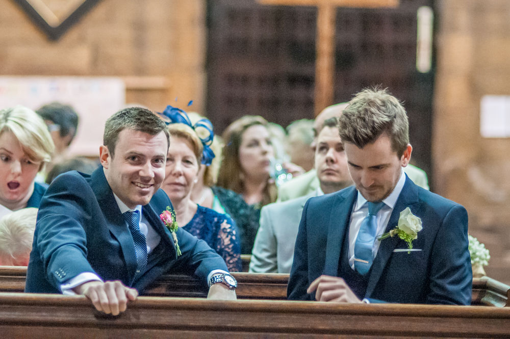 Groom and best man waiting in Church, St Mary's Ecclesfield