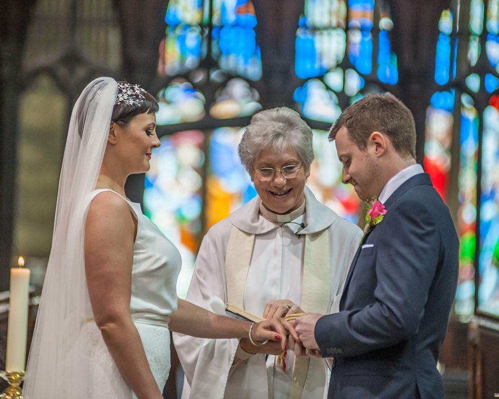Ring exchange in ceremony, Sheffield wedding photographers