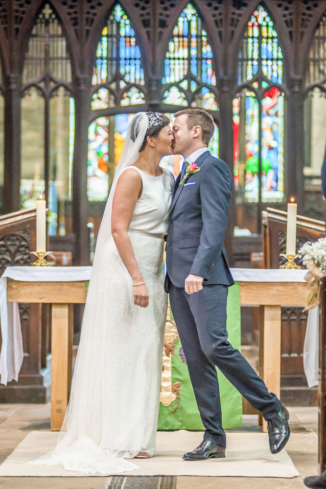Bride and Groom first kiss, St Mary's Ecclesfield