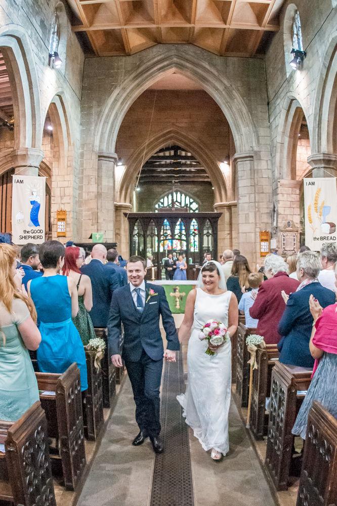 Bride and Groom walking down aisle, Sheffield weddings