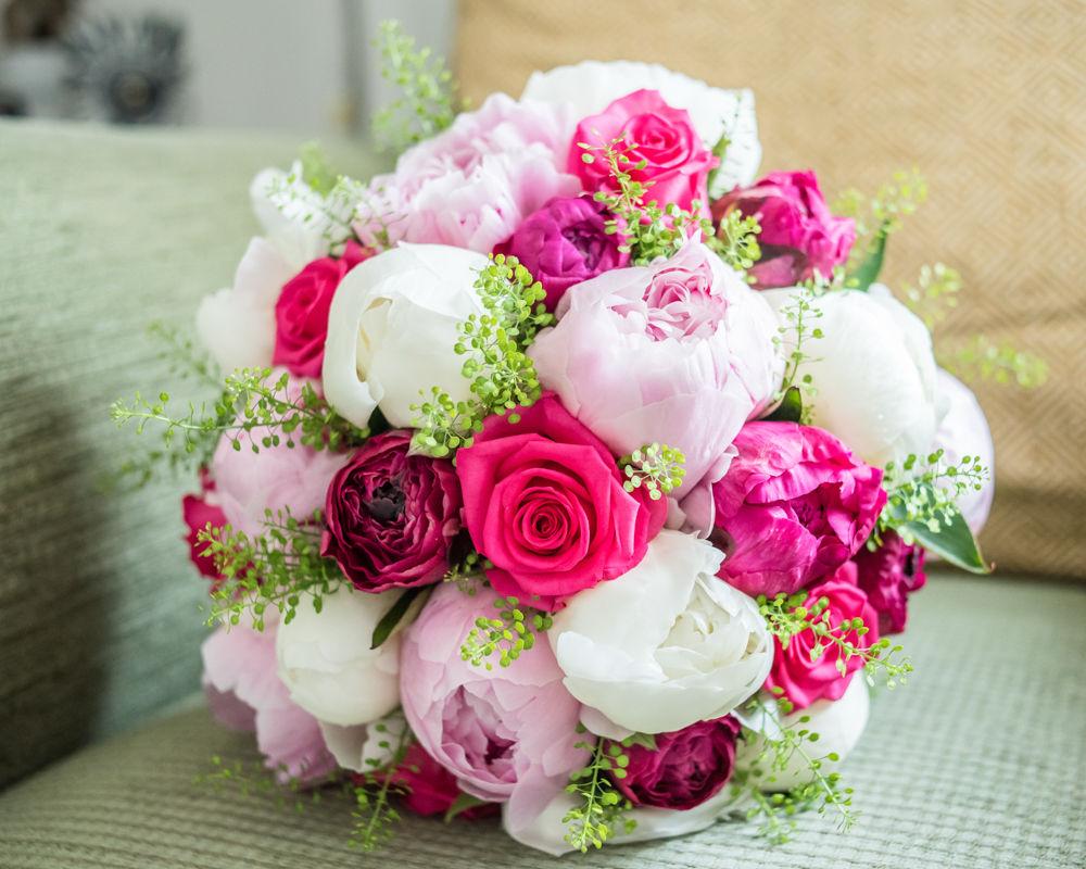 Brides pink peony bouquet, Sheffield wedding photographers