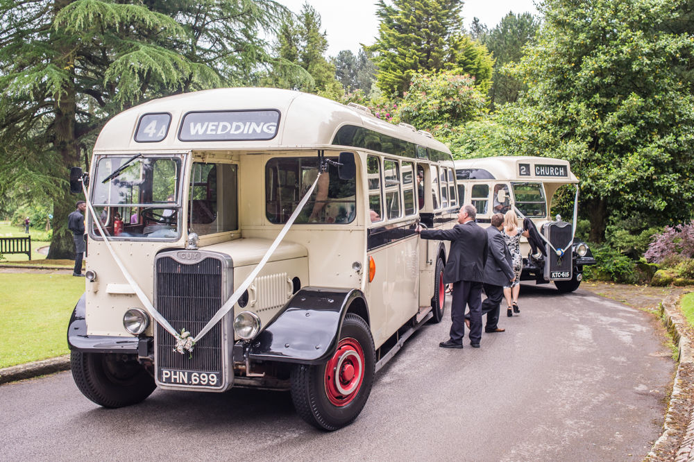 Vintage buses arriving at Whirlowbrook Hall, Sheffield