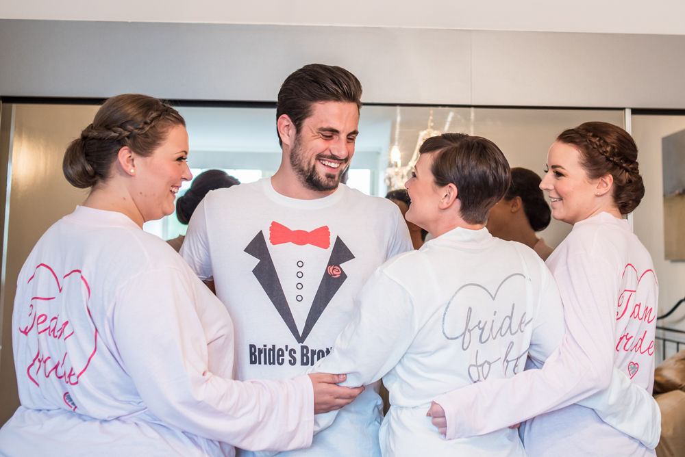 Bride, bridesmaids and brother getting ready, Sheffield wedding photographers