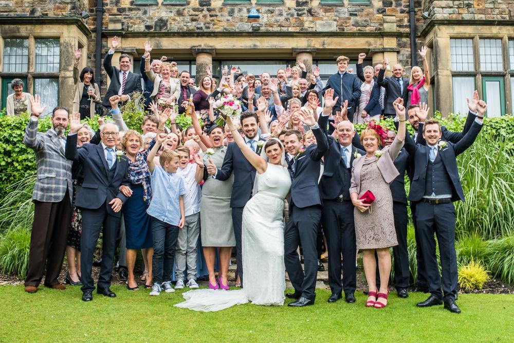 Group photo cheering, Sheffield wedding photographers, Whirlowbrook Hall