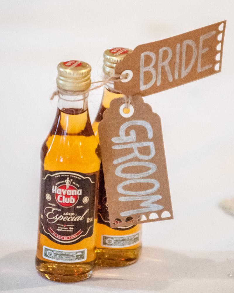 Wedding favours, rum miniatures, Sheffield wedding photographers, Whirlowbrook Hall