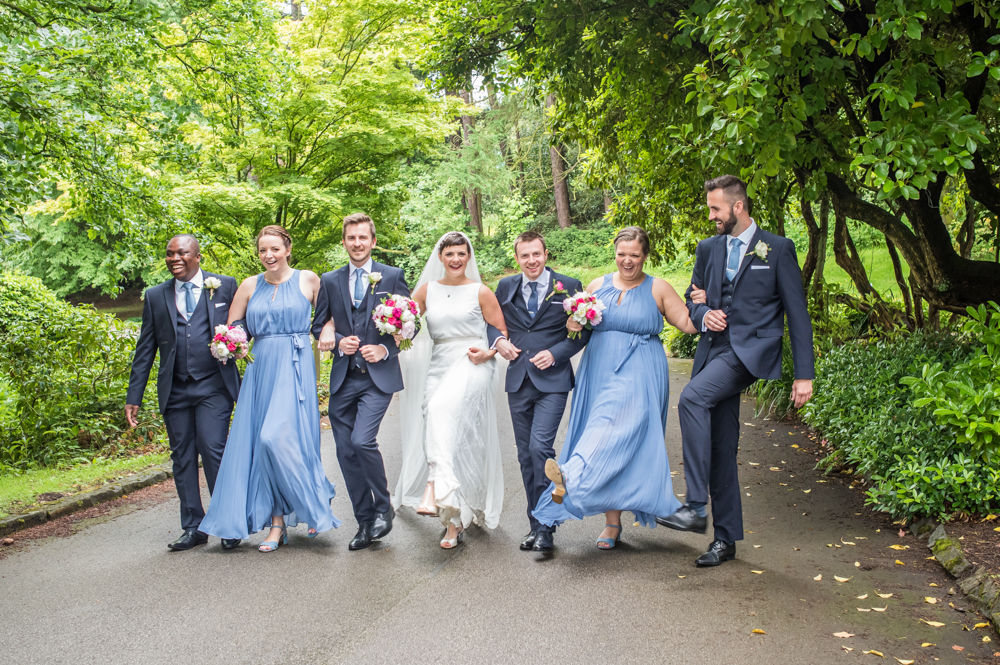 Bridal party can can, Sheffield wedding photographers, Whirlowbrook Hall