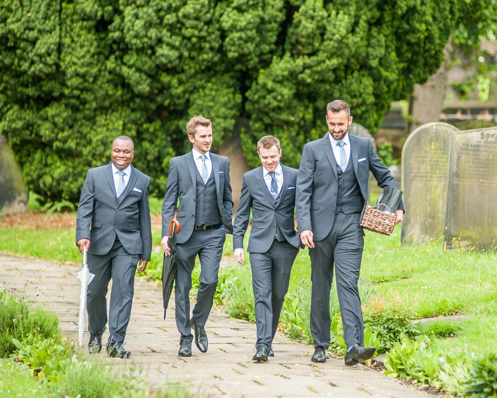 Groomsmen walking to church, Sheffield wedding photographers