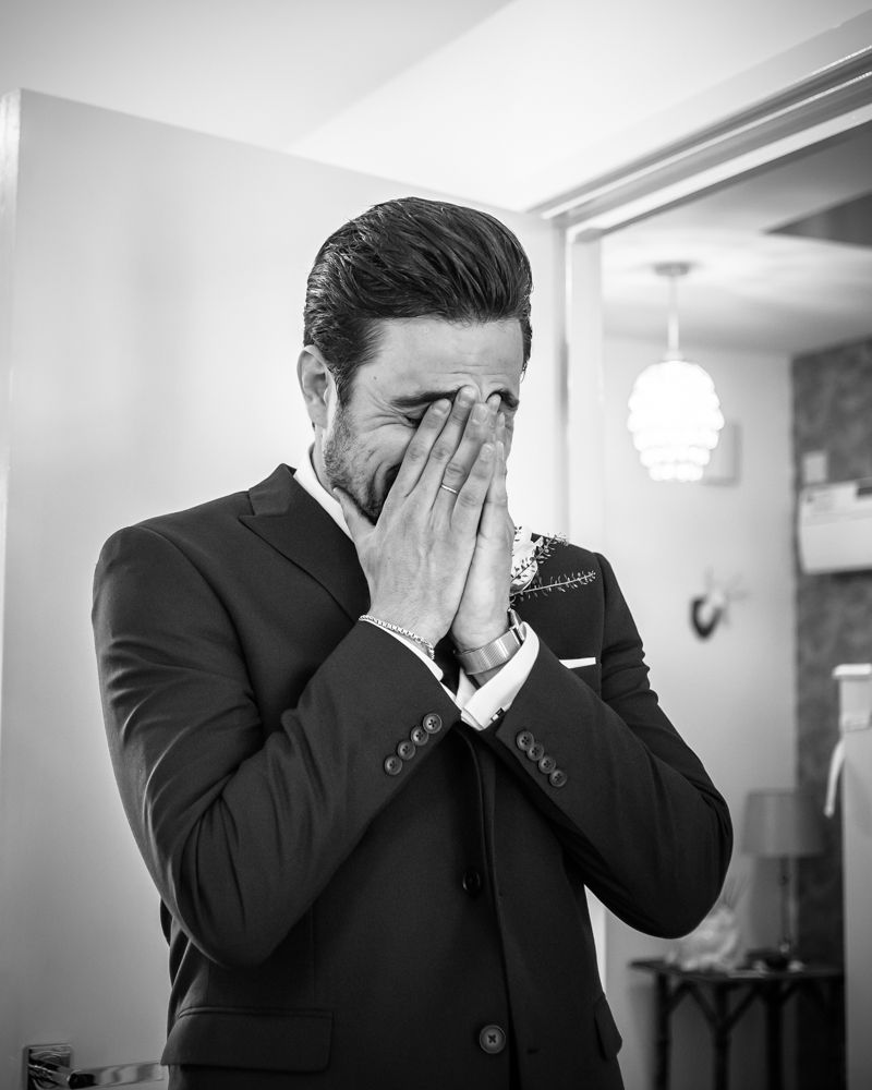 Brides brother crying when he sees bride, Sheffield wedding photographers