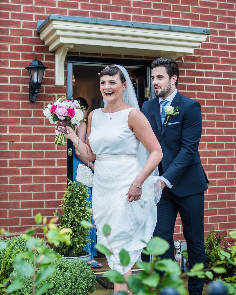 Bride leaving house, Sheffield wedding photographers