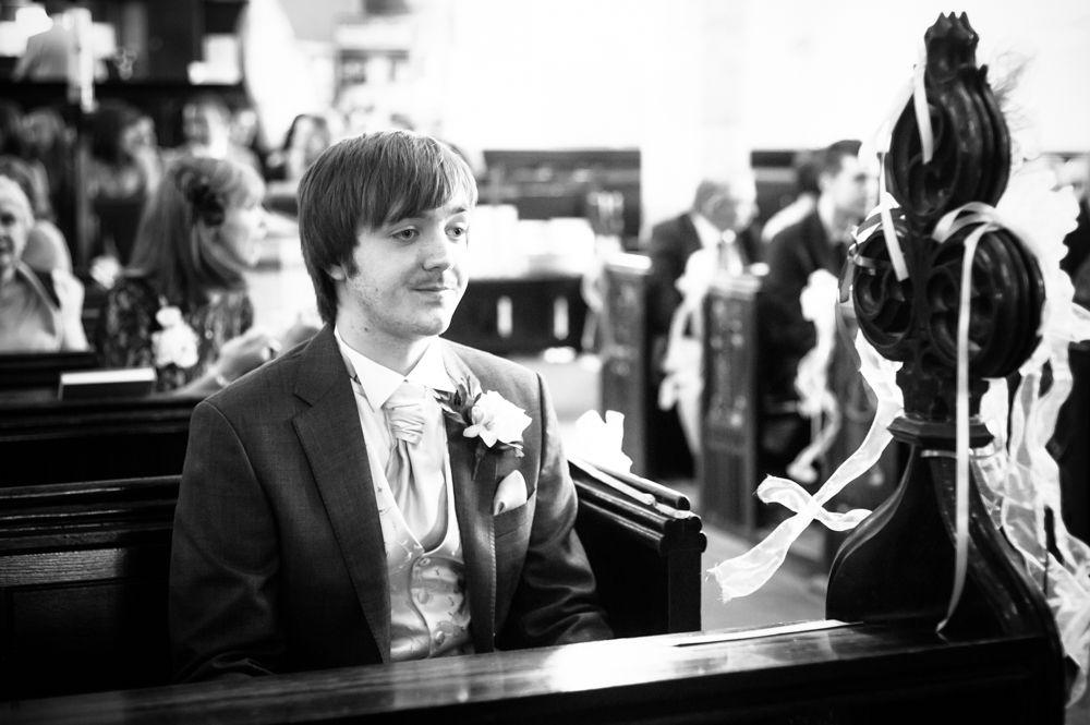 Groom waiting in church, Rotherham wedding photographers