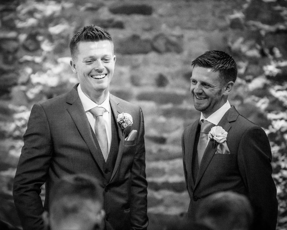 Groom and best man at top of aisle, Mosborough Hall weddings