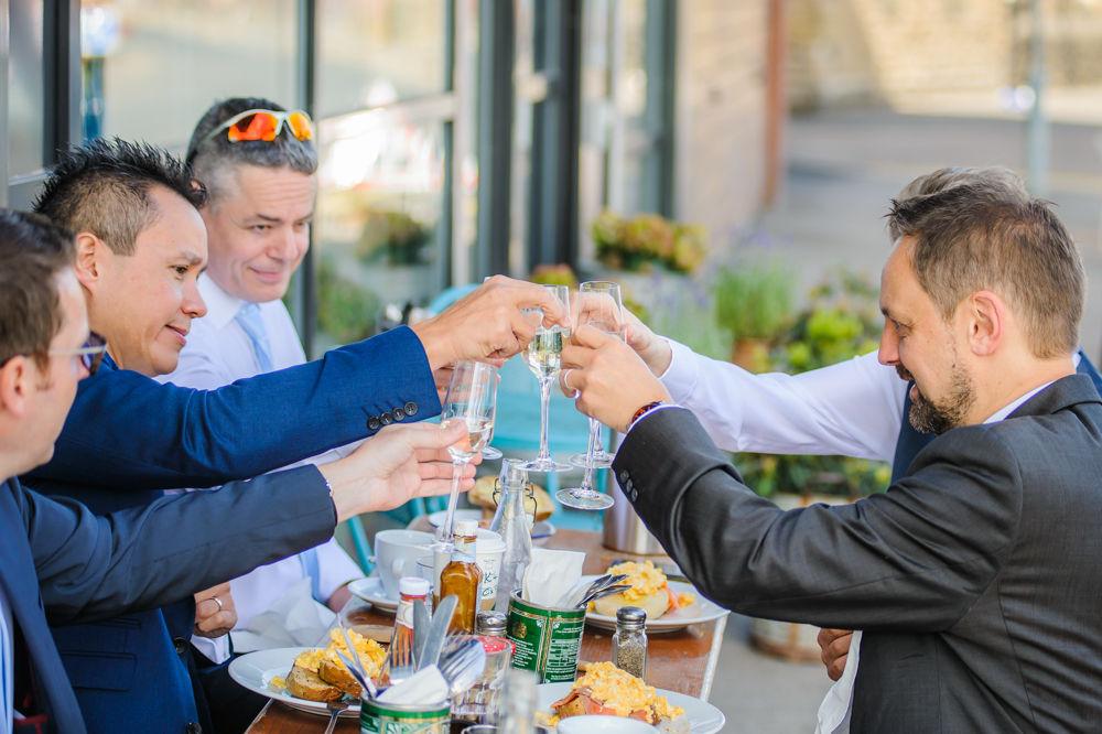 Groomsmen having breakfast before wedding, Kelham Island weddings, Sheffield
