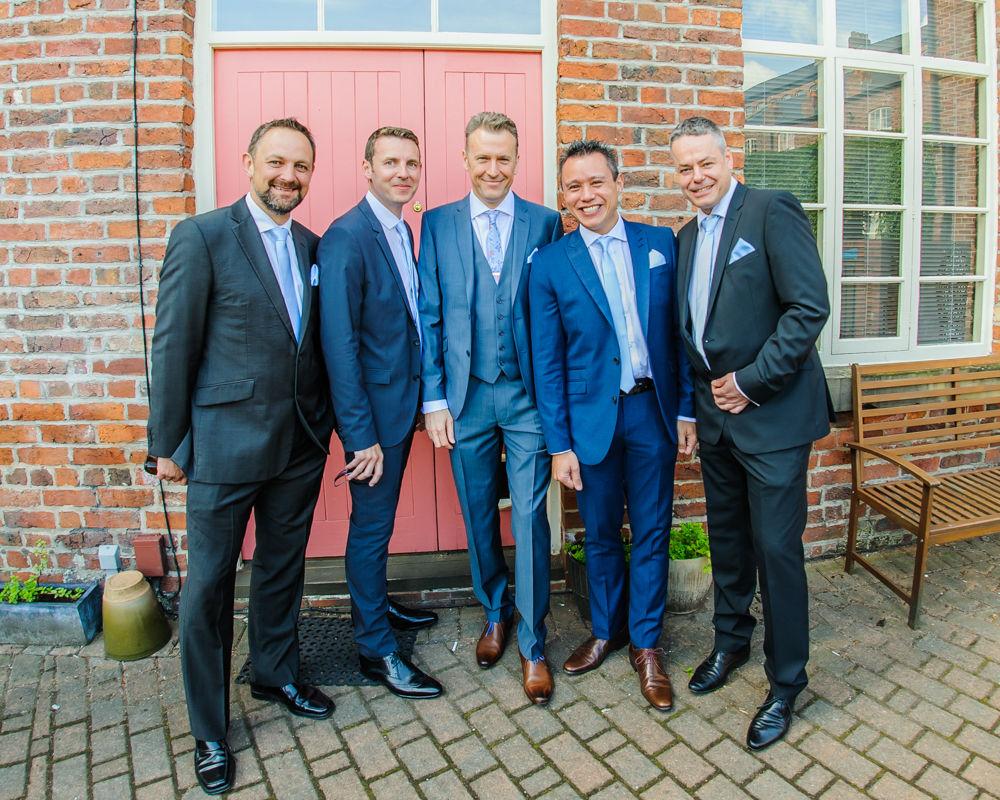 Kelham Island groomsmen posing, Sheffield wedding photographers