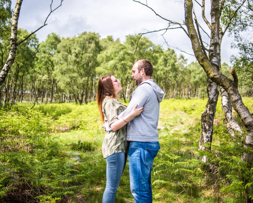Surprise View silver birch forest, Sheffield wedding photographers