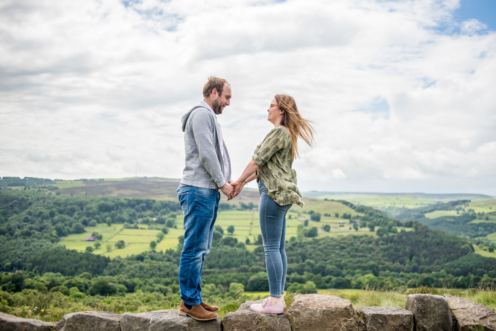 Standing looking over Hathersage Valley, Sheffield wedding photographers