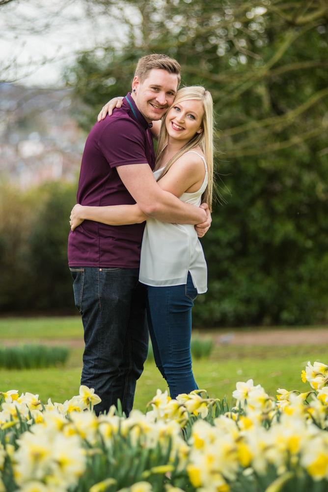 Deanna and Davey pre-wedding portraits in daffodils, Botanical Gardens Sheffield wedding photographers