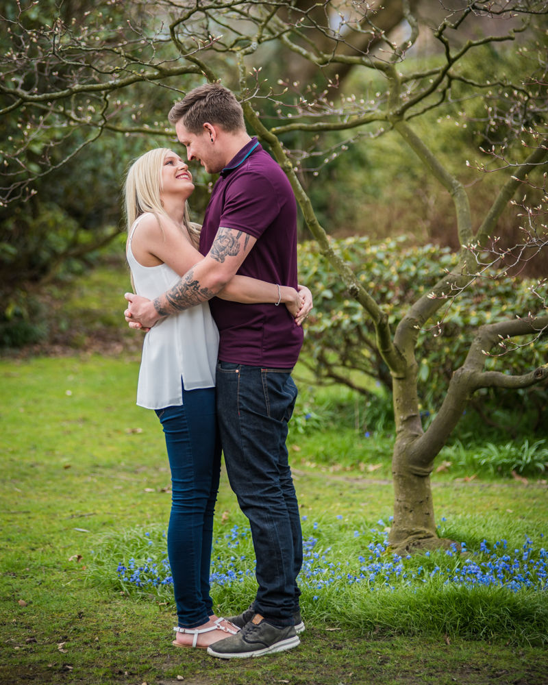 Deanna and Davey looking into each others eyes, Botanical Gardens Sheffield wedding photographers