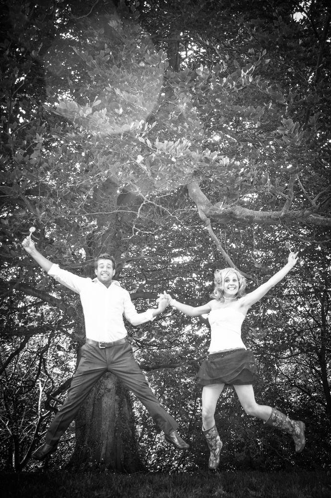 Bride and groom jumping, Sheffield wedding photographers
