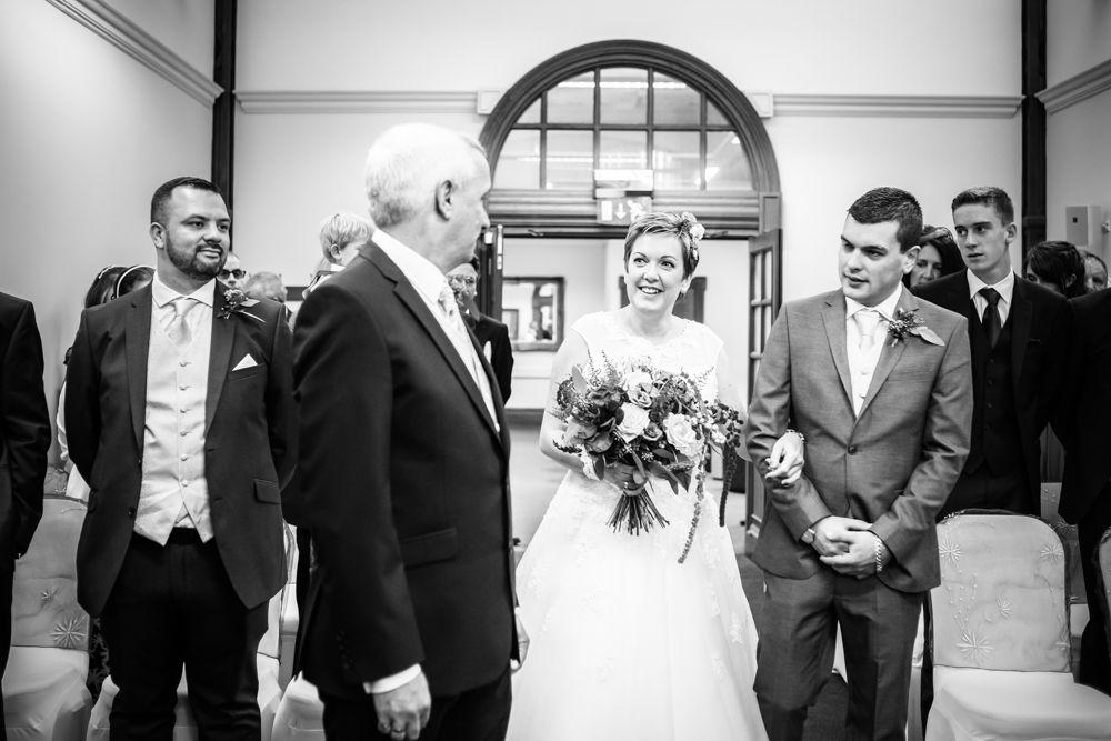 Janet walking up aisle, Sheffield town hall weddings