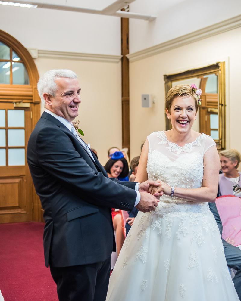 Wedding laughs, Sheffield town hall weddings